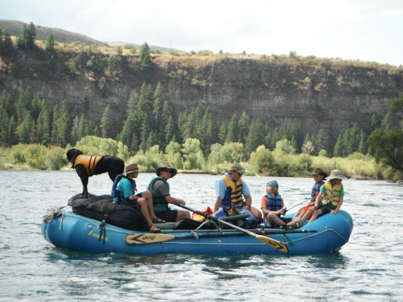 Mark, Logan & Cole on one of the rafts on the Snake River with Brian, Max, Owen & Cassie (dog) Reynolds. Katie-we missed you on this trip!