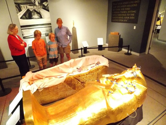 A pharoah's sarcophagus at the King Tut exhibit, Twin Falls museum.