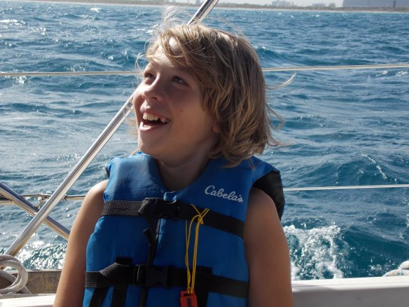 Logan enjoying the waves on the way back to Fort Lauderdale from Biscayne Bay.