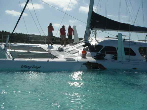 Catamaran wreck during the New Year's Day regatta.