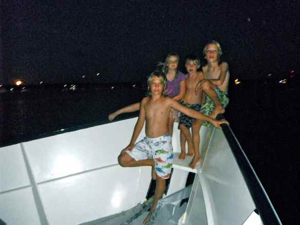 Cruising friends on Eleon.  Logan, Eleana, John and Cole.