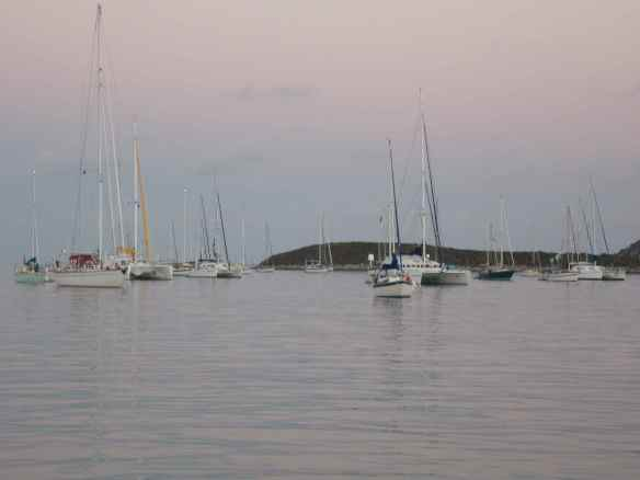 We set anchor near volleyball beach.  This is a view of the boats out our 'back door'.