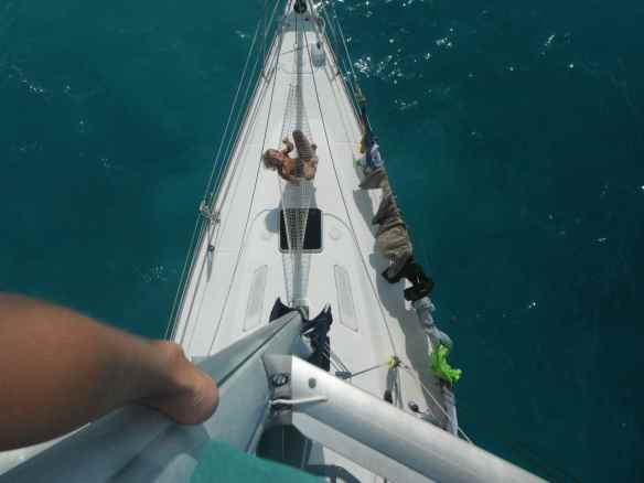 View of bow of boat from top of mast.