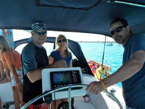 David, Tawny and Bill in cockpit of Truansea.