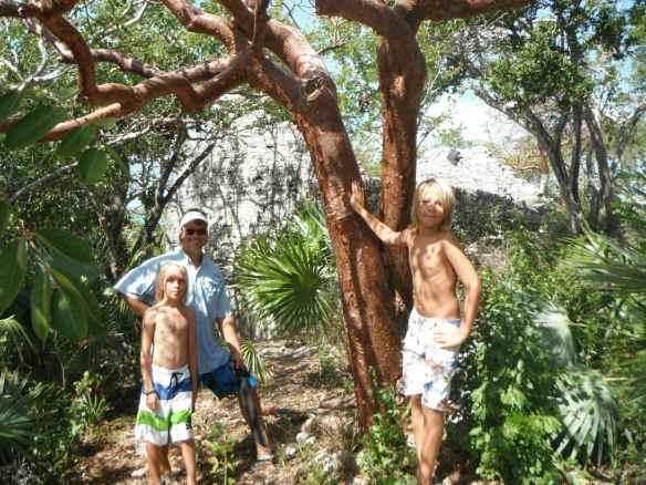 Cole, Christine & Logan hiking on Stocking Island.