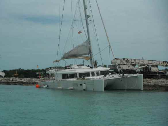 Catamaran that hit a reef in Elizabeth Harbor is now at the local boat yard.  The reef won that battle.