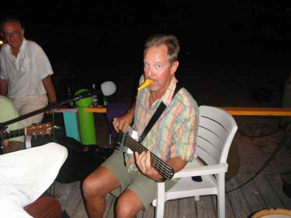 Our friend Greg from s/v Serenade playing at one of the jam sessions on hamburger beach.