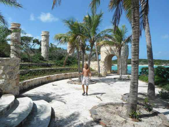 Logan at an abandoned resort on Crab Cay.  The building of the resort stopped sometime after the crash.  We have seen lots of resorts and buildings that were put on hold.