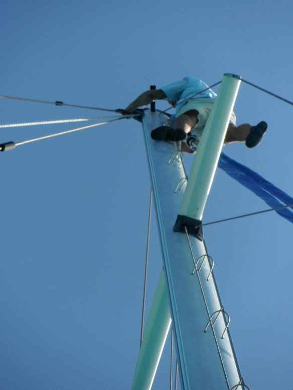 Mark climbing the neighbors mast.