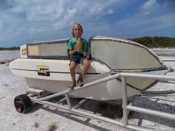 Cole with the Reef Ranger he made on the real Reef Rover.