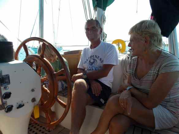 Bud & Eileen in s/v Sea Camp's cockpit.