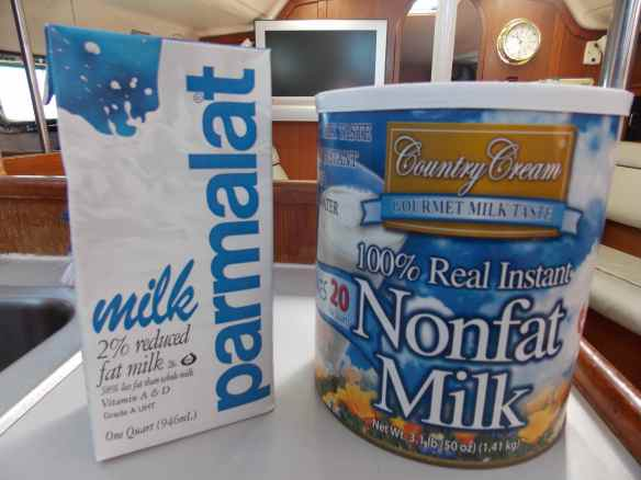 Box milk, on the left, requires no refrigeration.  Powdered milk, on the right, is another staple of ours.