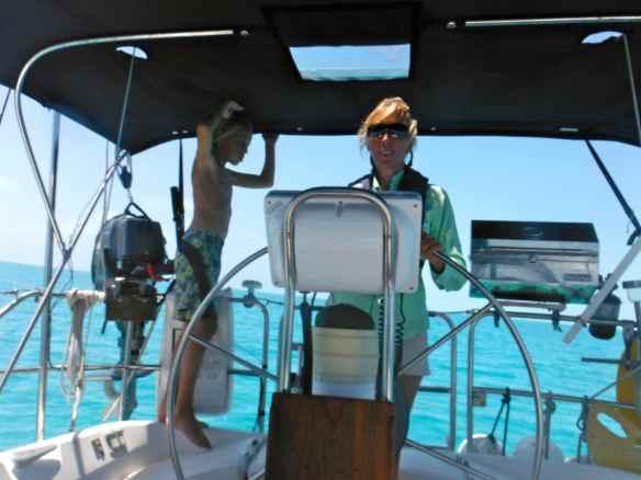 Christine and Cole sailing into Rock Sound.