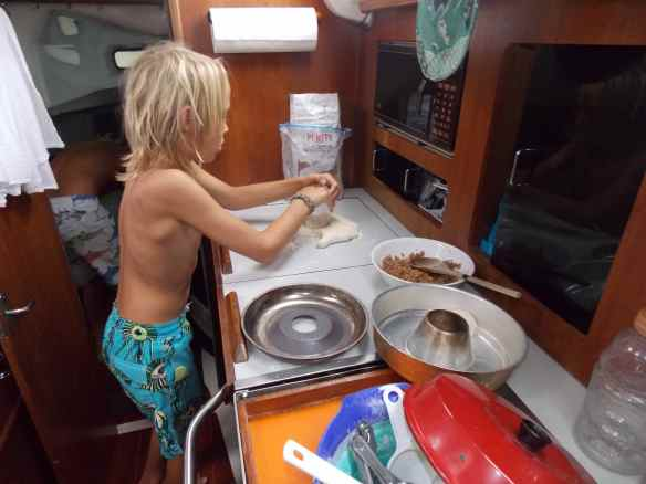 Cole making biscuits to put in Omnia.