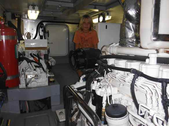The engine room showing the main and secondary engines.