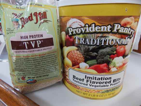 TVP - Textured Vegetable Protein is a great meat substitute.