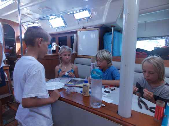 A couple of friends from Take Two came over for boat school one day to build a radio.