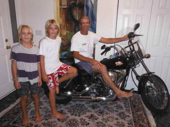 What kind of a person keeps their motorcycle in their foyer?  Someone as cool as Tom does!