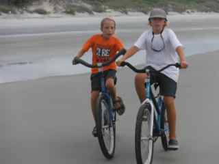 Riding bikes on the beach at Jekyll.