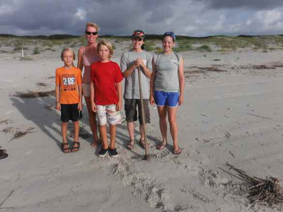 Cole, Christine, Logan and the student turtle researchers.