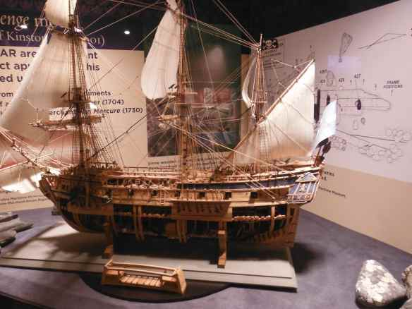 Model of Blackbeards ship, the Queen Anne's Revenge.