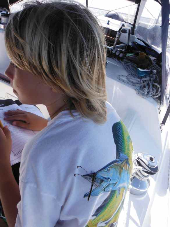 Another dragonfly hangs out on Logan's back while he does school work.  I had to laugh how it landed right on the fish's mouth on his t-shirt.