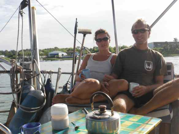 "Tom and Suzi on board ""Troll"""