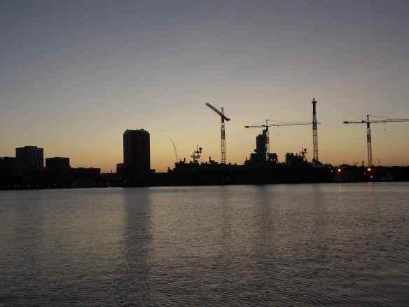 The sun sets on Norfolk.