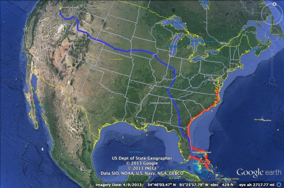The blue track is our road trip.  The red line is our sailing track.