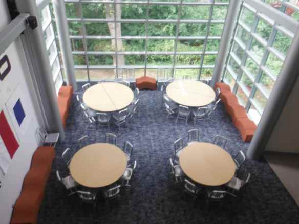 Another common area had seats on the sides that looked like waves, yet were very comfortable and the round lunch tables foster togetherness.