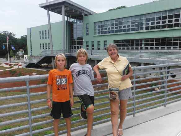 Cole, Logan and Ginnie in front of the Marine Science Magnet High School of Southeast Connecticut.