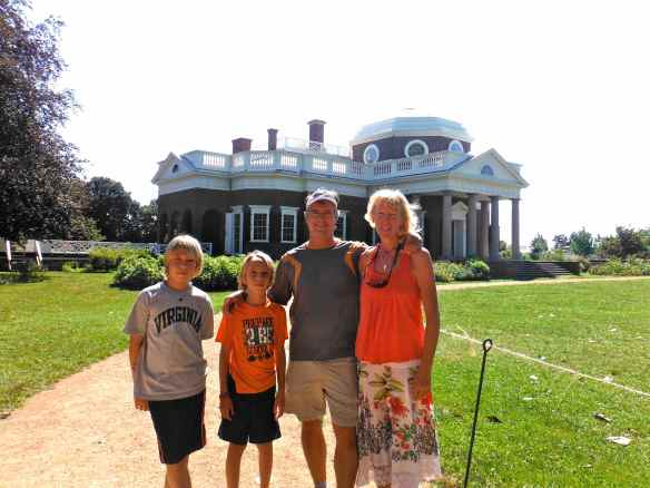 Us in front of Monticello.  What a day, packed with a months worth of home schooling history for the boys.