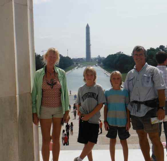 The Washington Monument in the background.