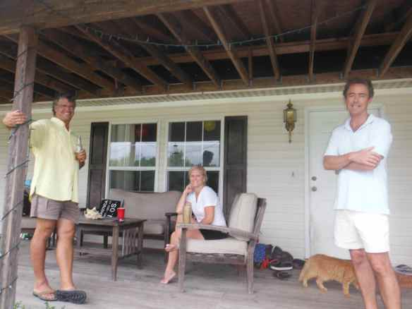 Mark, Candi and Chip relaxing on Southern Bound's porch.