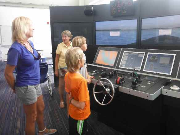Simulator in the school where students can earn time towards their captains license.