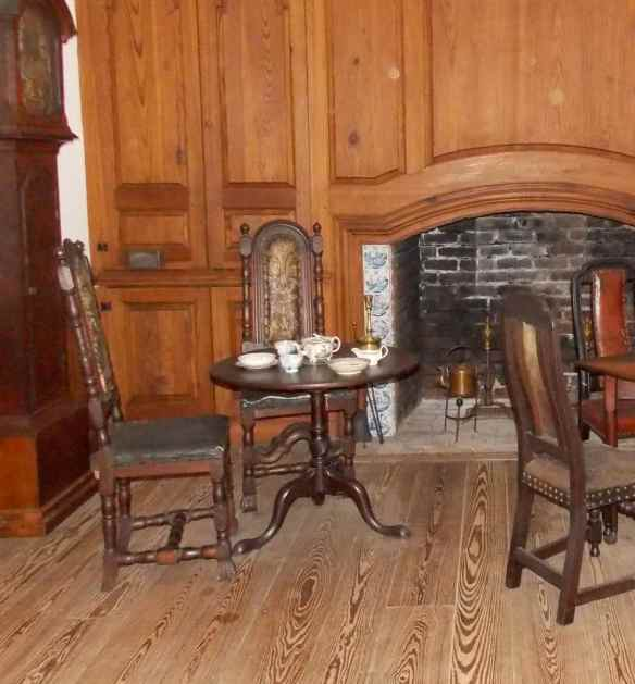 The round table is the only piece of furniture salvaged from his Washington's house he was born in.