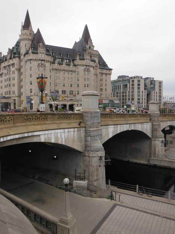 The Fairmont Chateau Laurier over the Rideau Canal in Ottawa.